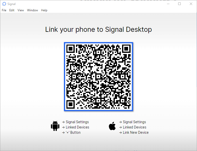Signal desktop QR code