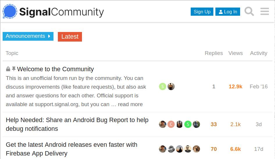 SignalCommunity page