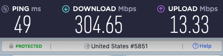 NordLynx Los Angeles speed test results.