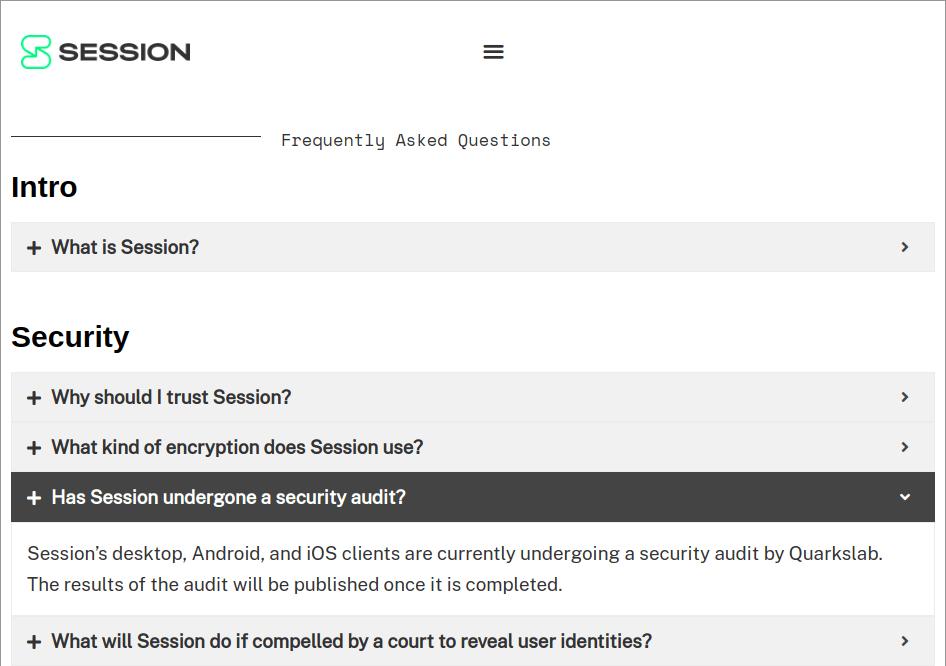 Session Messenger FAQ Page