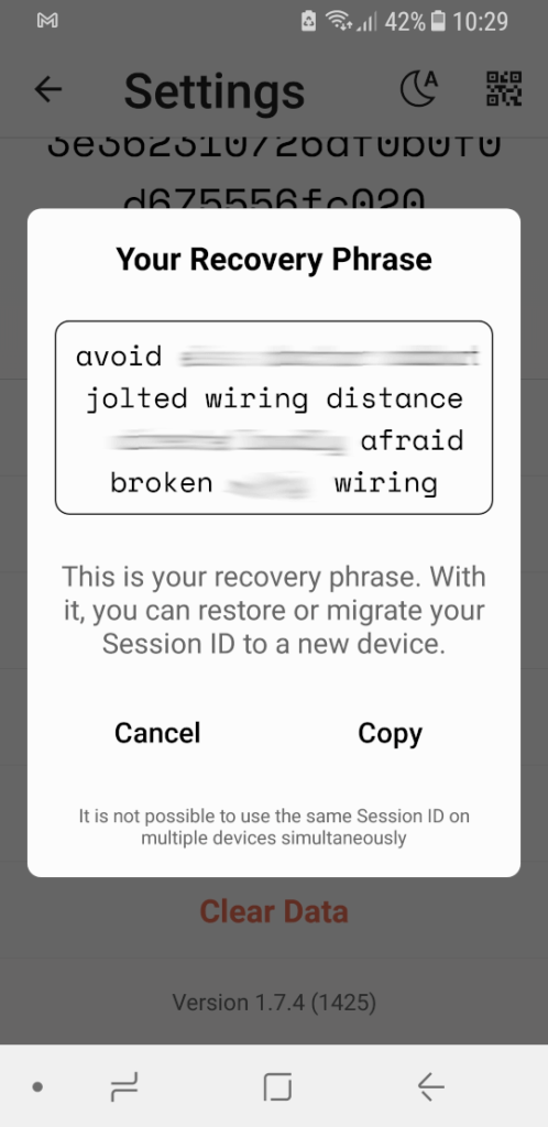 Session Messenger Recovery Phrase
