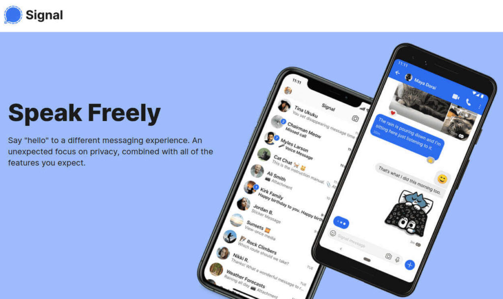 Signal Messenger App Home Page