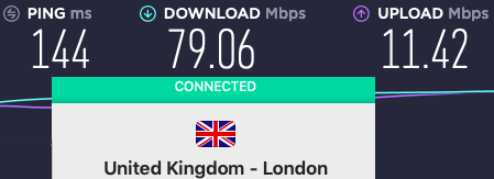 This connection didn't turn in good speeds either.