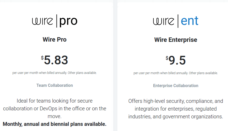 wire messaging app price