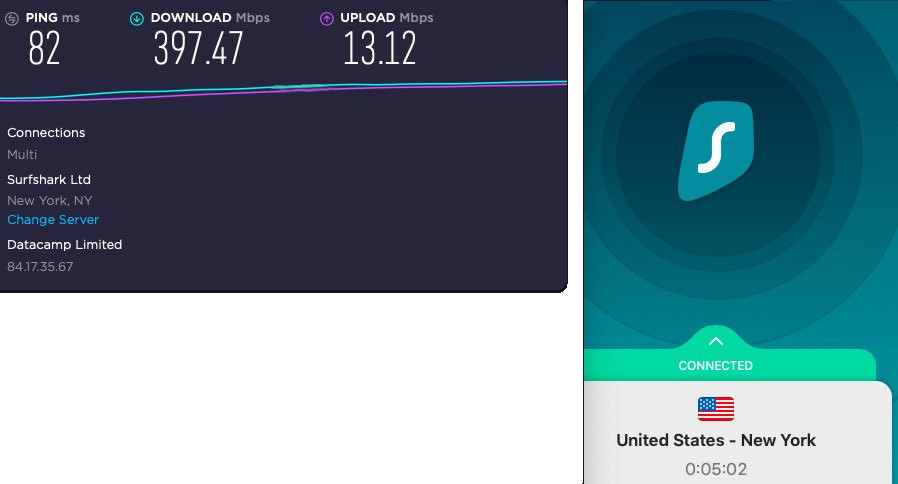 Surfshark is the only VPN I have seen that can challenge NordVPN in a race.