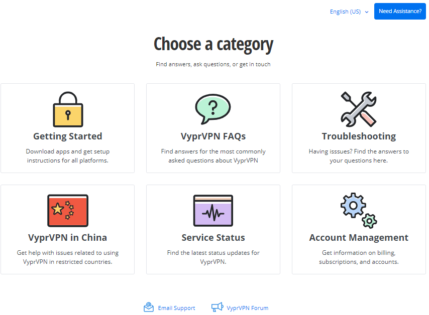 vyprvpn support page